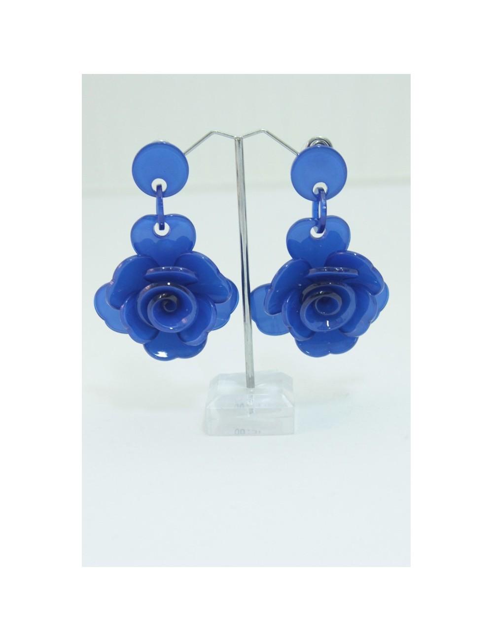 Boucles d'oreilles flamenco roses bleues