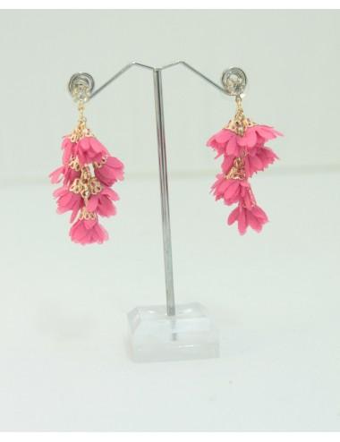 Boucles d'oreilles Grappa rose fuchsia