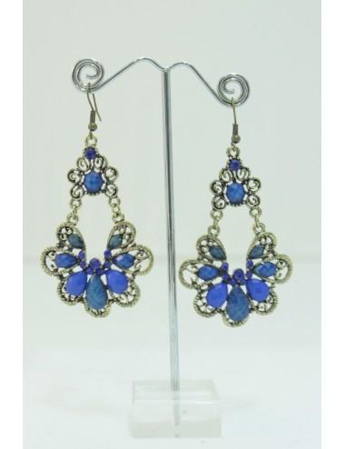 Boucles d'oreilles flamenco bleu