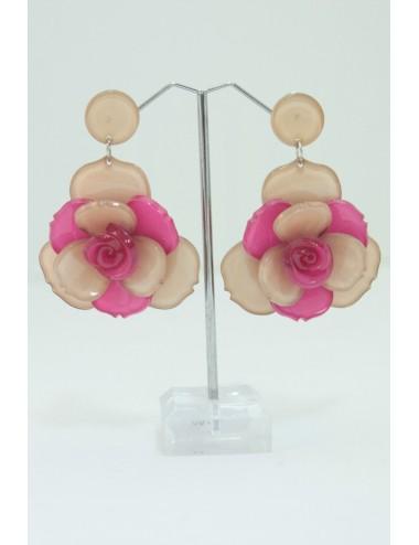 Boucles d'oreilles marron-rose