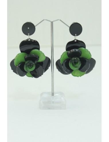 Boucles d'oreilles vert -noir
