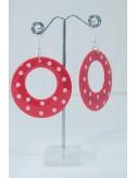 Boucles d'oreilles Enfants rouge pois blanc