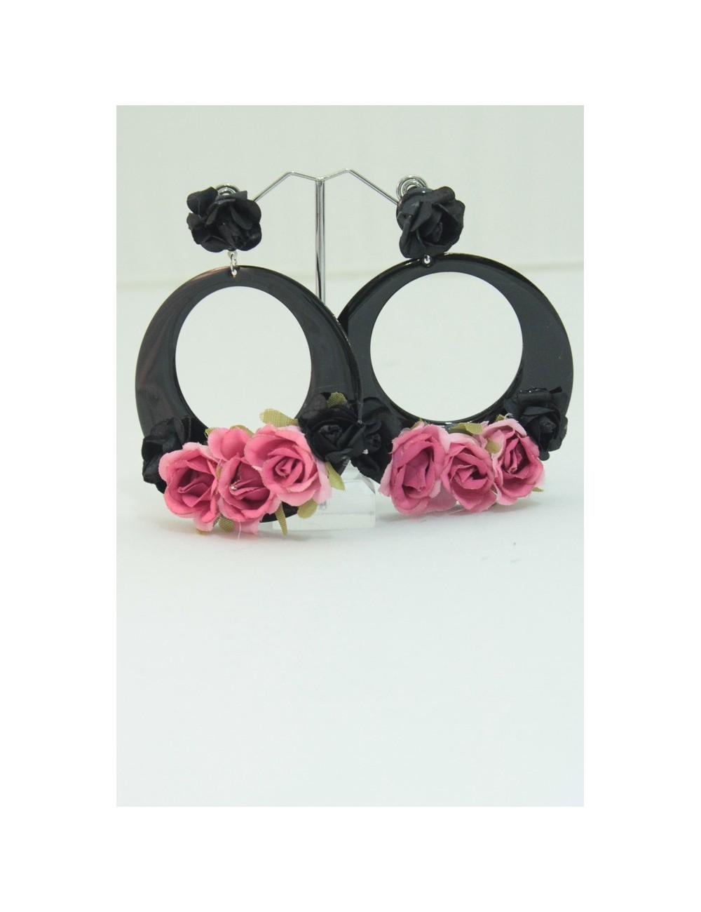 Boucles fleurs Noire