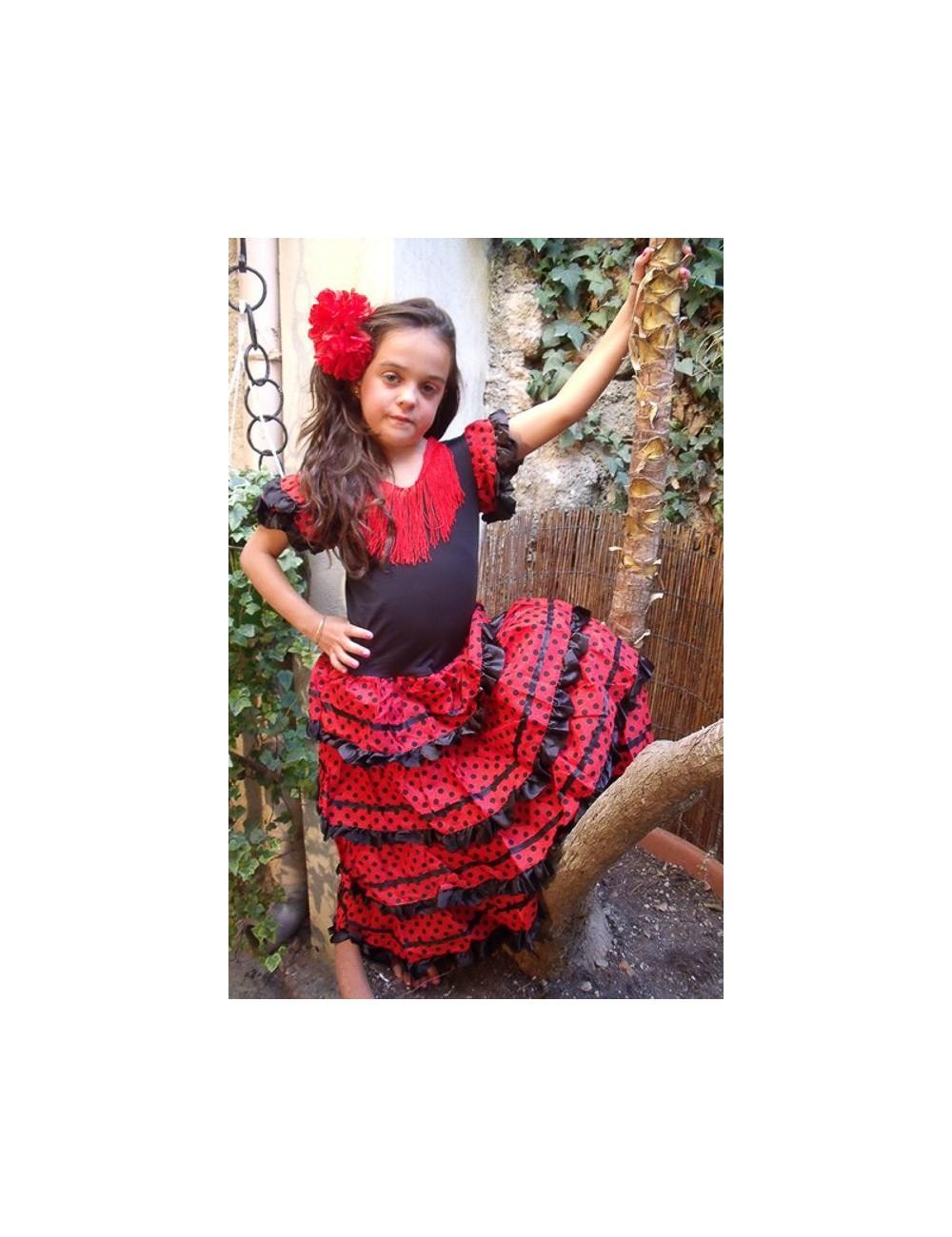 Déguisement robe de flamenco fille noire pois rouges