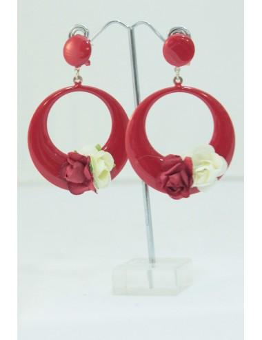 Boucles fleurs Rouge