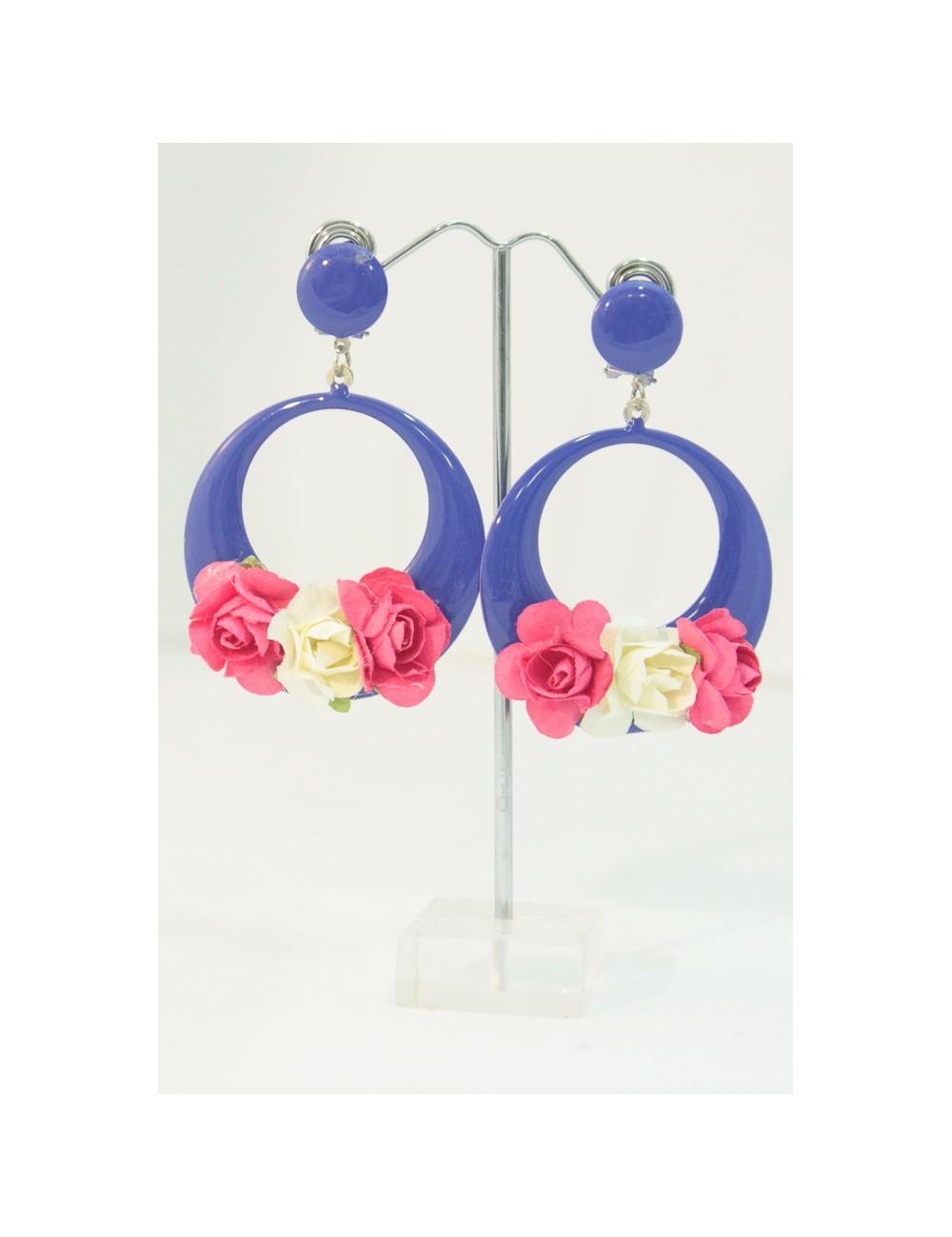 Boucles fleurs Bleu