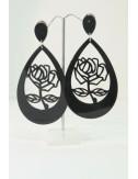 Boucles d'oreilles roses noire