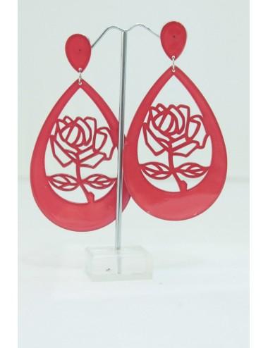 Boucles d'oreilles roses rouge