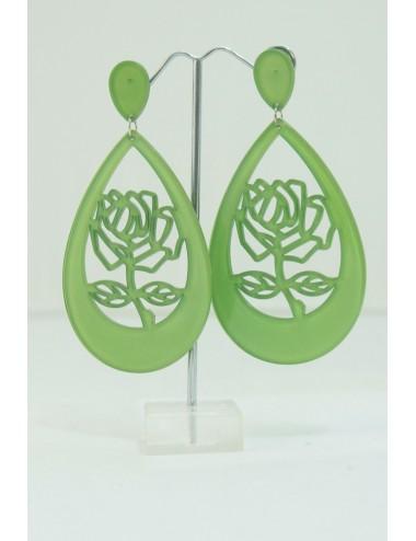 Boucles d'oreilles roses vert andalou