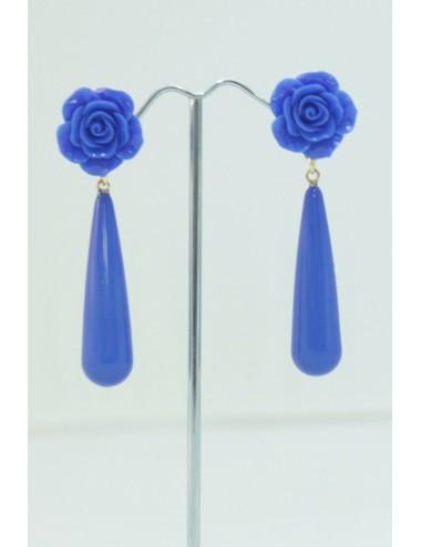 Boucles d'oreilles goutte bleu roy