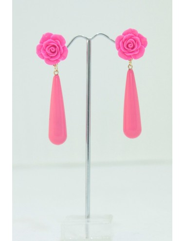 Boucles d'oreilles goutte rose fuchsia