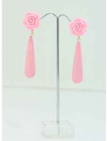 Boucles d'oreilles goutte rose