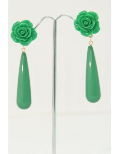 Boucles d'oreilles goutte vert prairie