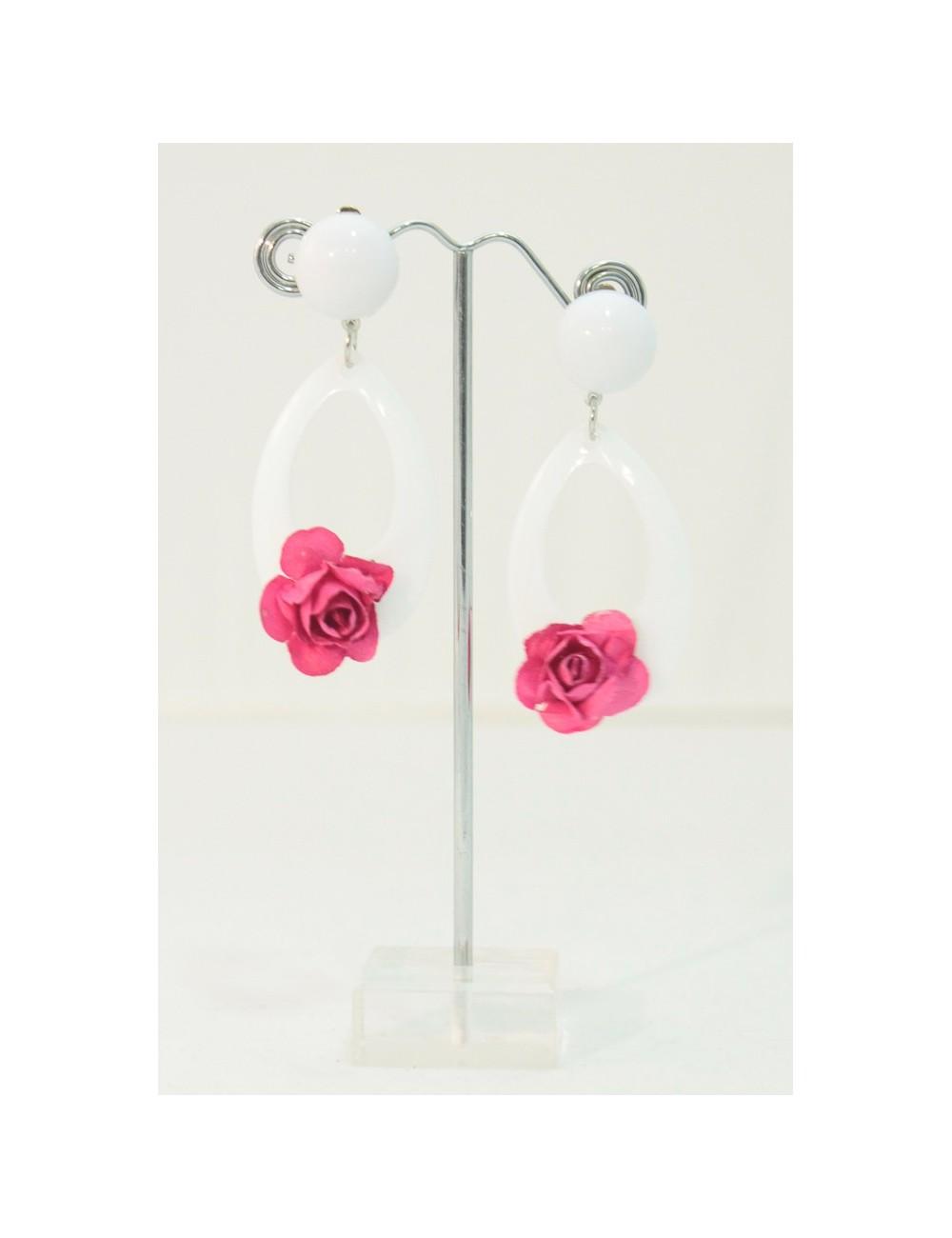 Boucles d'oreilles blanche+ rose