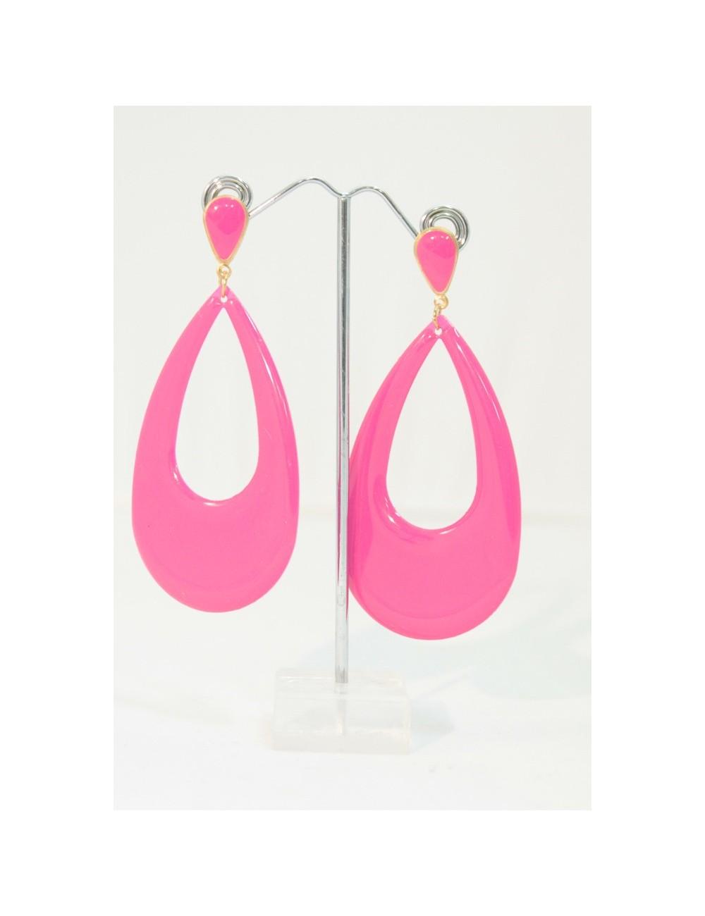 Boucles d'oreilles flamenco roses goutte