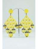 Boucles d'oreilles boules à facettes jaune