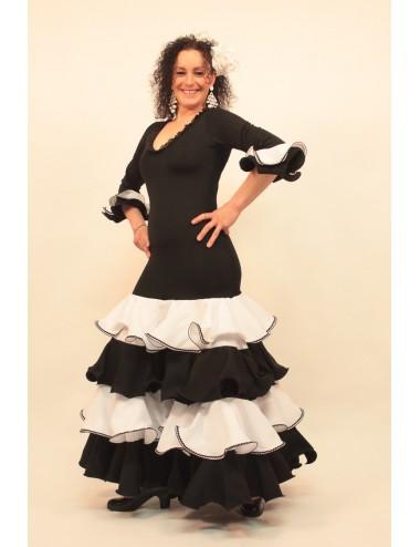 Vestido de flamenco negro y blanco Evoca 2