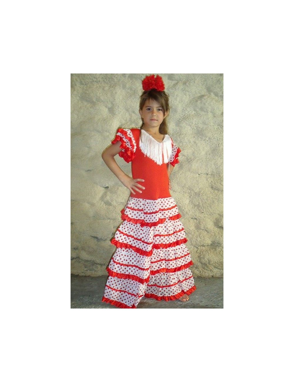 Déguisement robe de flamenco fille rouge pois blancs