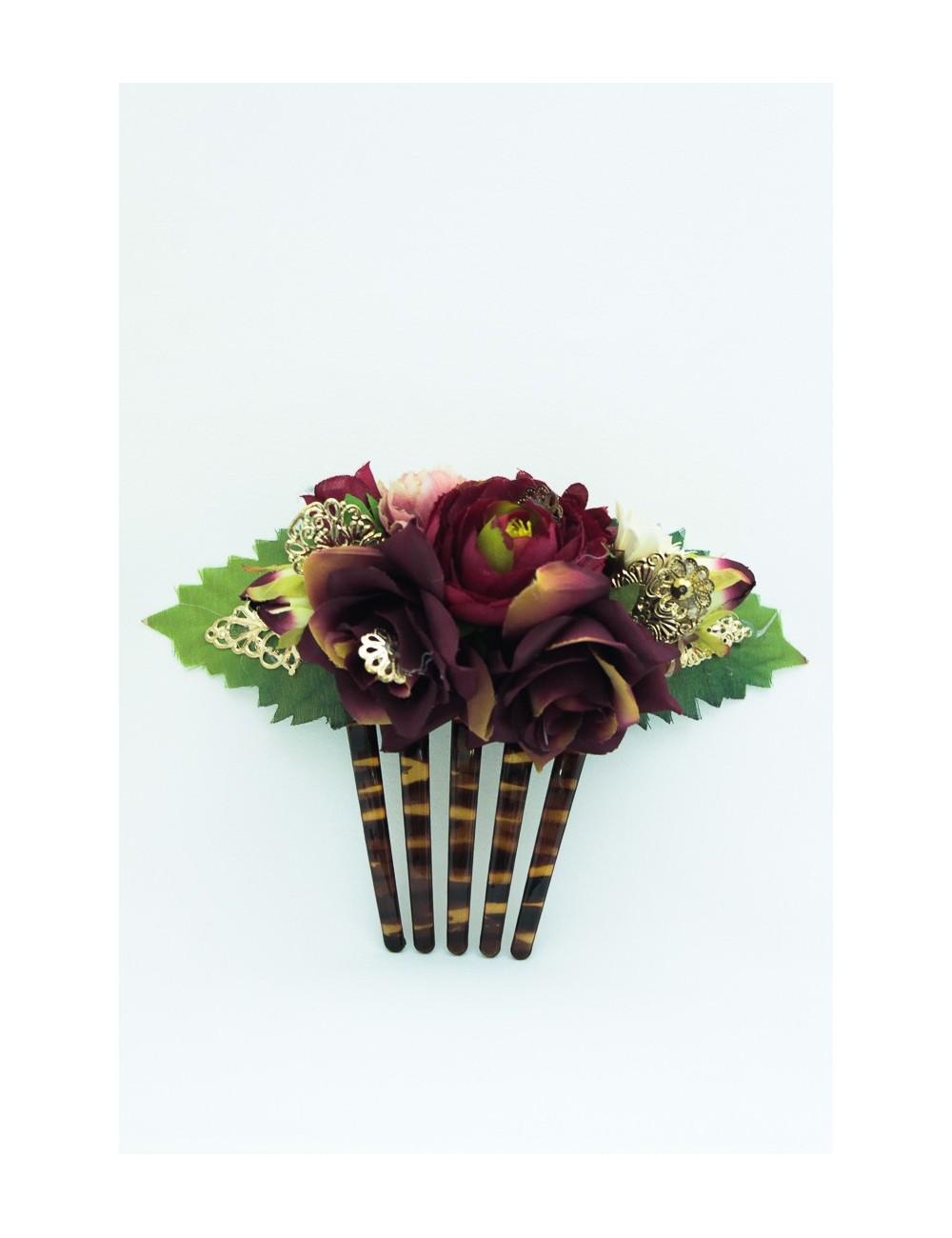 Superbe Peigne fleuris Parme