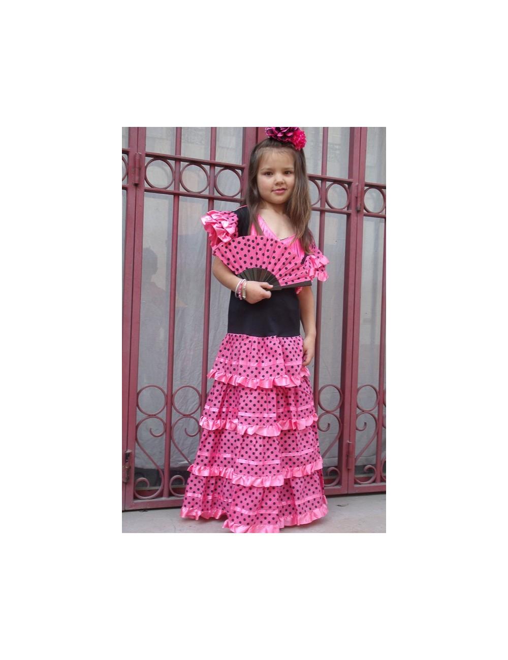 Déguisement robe enfant flamenco rose pois noirs
