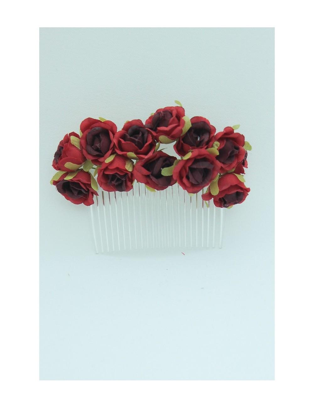 Peigne fleuris rouge