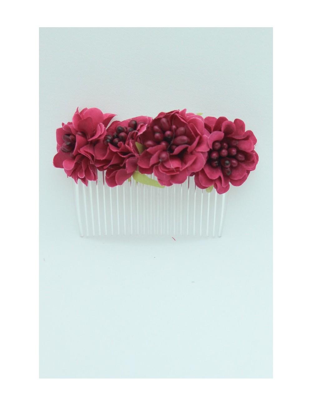 Peigne fleuris fuchsia
