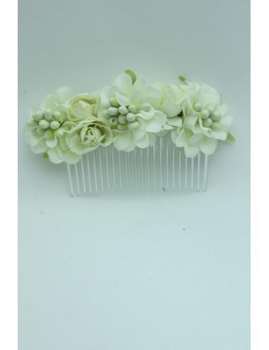 Peigne fleuris blanc