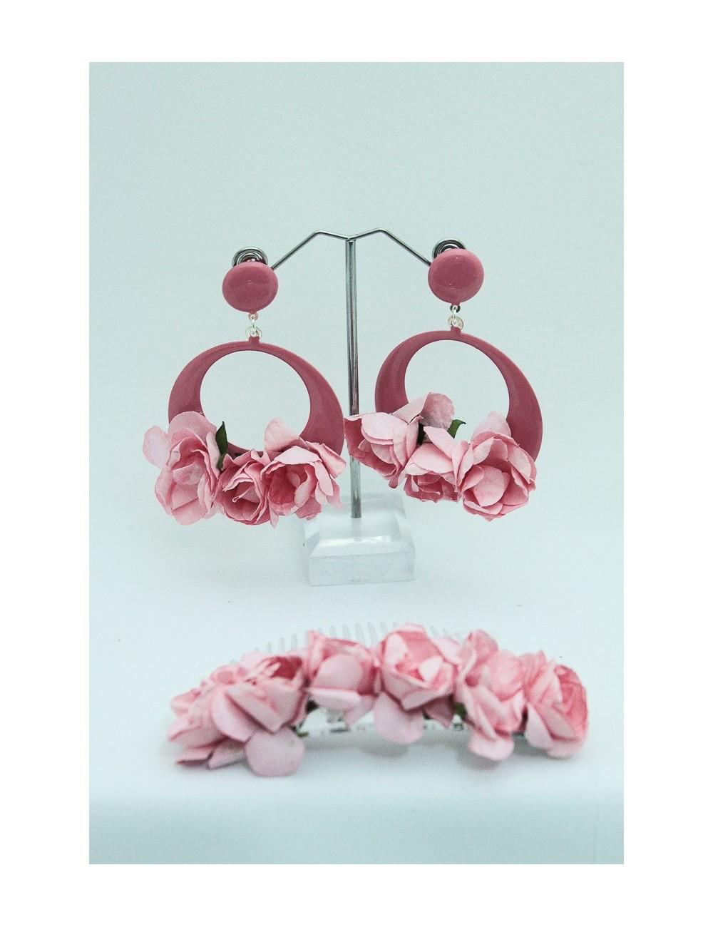 Kit Peigne fleuris Rose