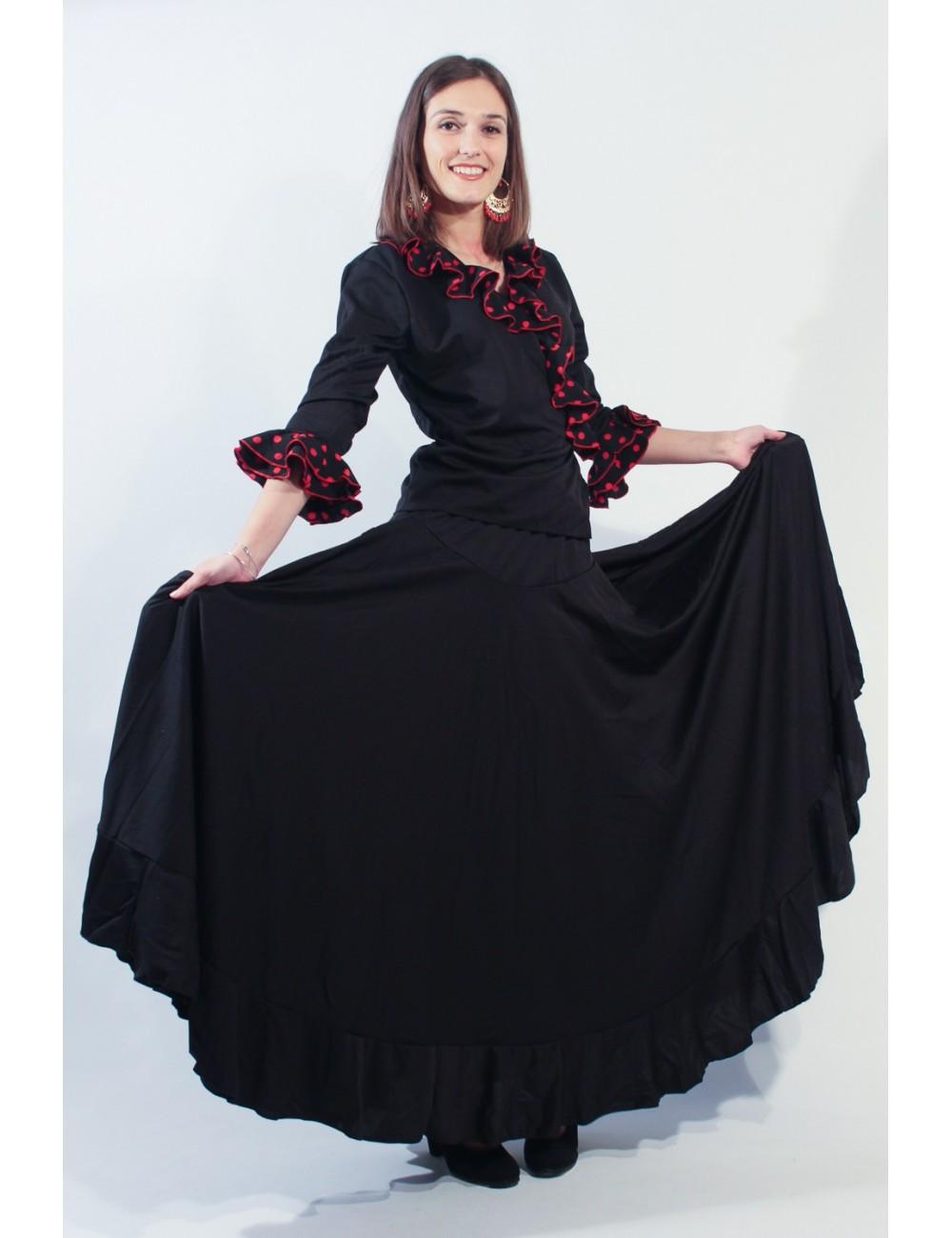 Falda flamenca Negra 1V