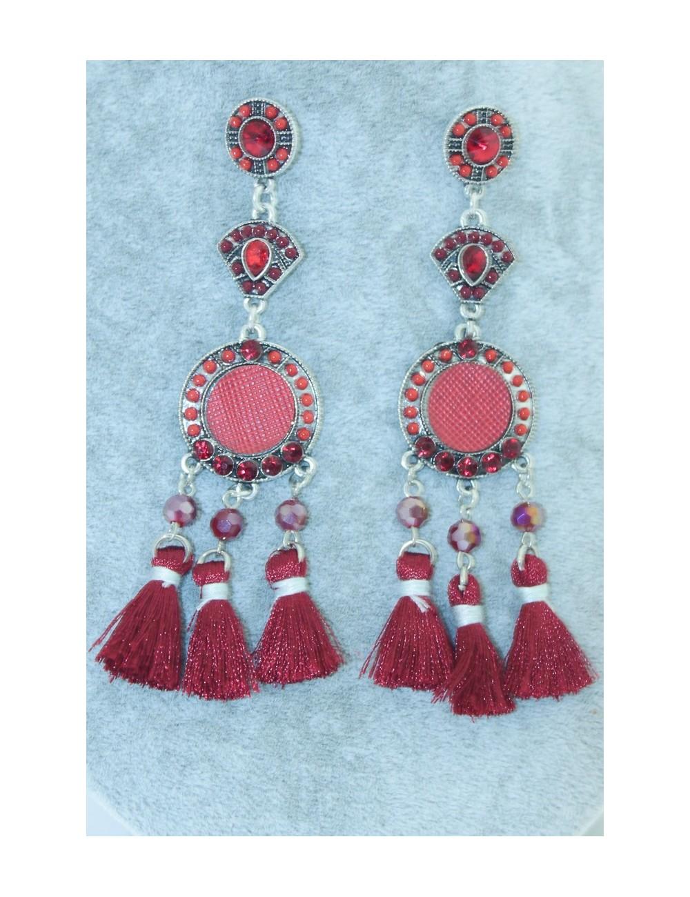 Boucles d'oreilles flamenca rouges