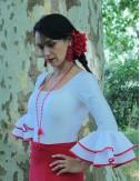 Body de flamenco biais blanco