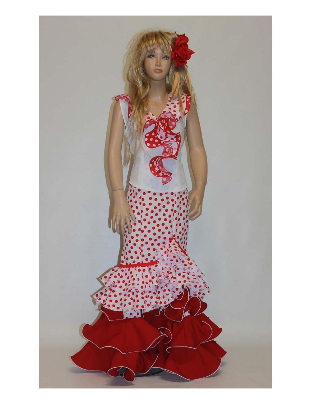 Jupe flamenco enfant blanc rouge