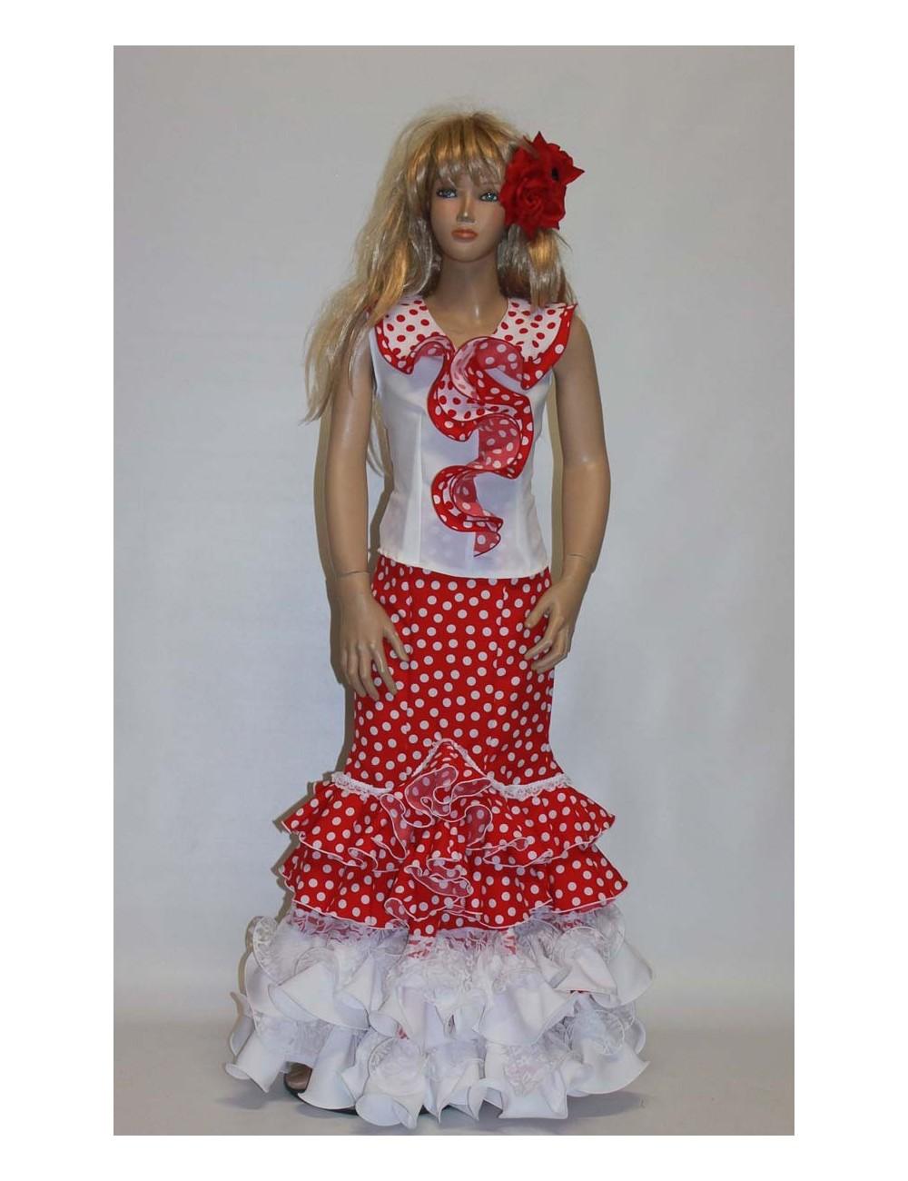 Jupe flamenco enfant Rouge Blanc