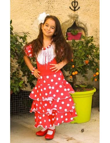 Déguisement robe de flamenco rouge pois blancs 2