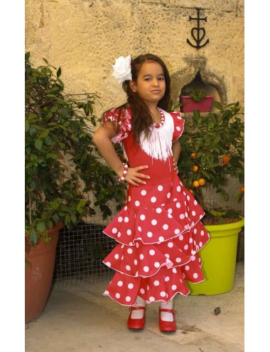 Déguisement robe de flamenco rouge pois blancs 2