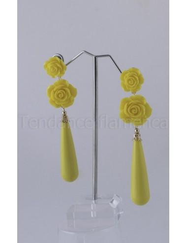 Boucles d'oreilles  jaune bouton d or