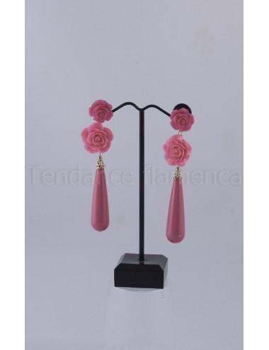 Boucles d'oreilles  vieux rose