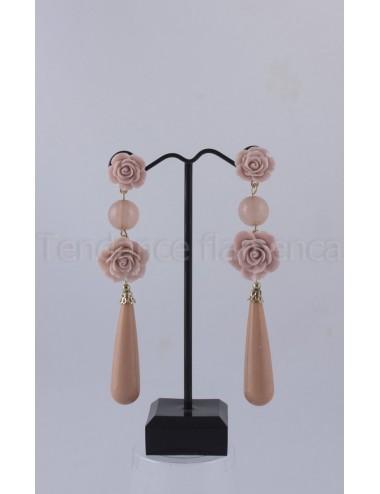 Boucles d'oreilles Camel Rose 3 goutte