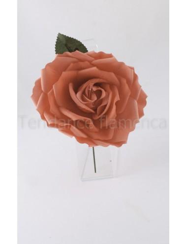 Rose de flamenco à tige 16 cm corail