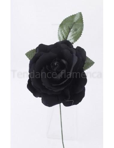 Rose de flamenco à tige 16 cm noire