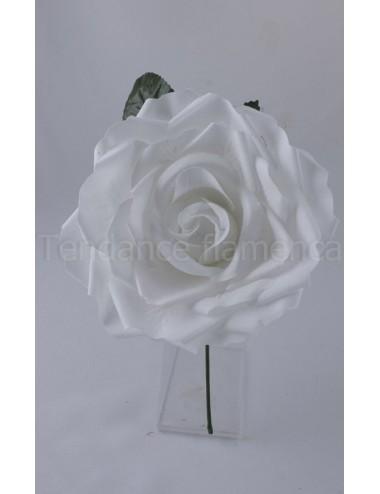 Rose de flamenco à tige 16 cm blanche