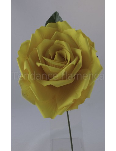 Rose de flamenco à tige 16 cm jaune
