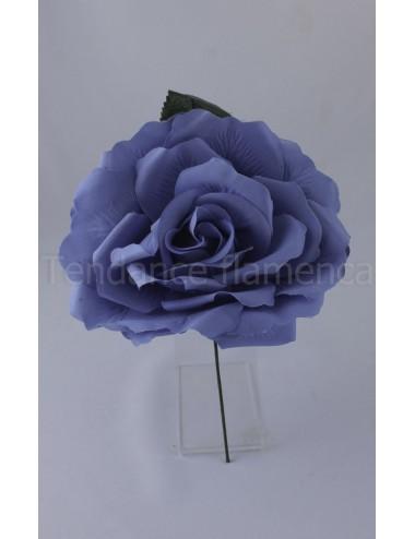 Rose de flamenco à tige 16 cm bleu ciel