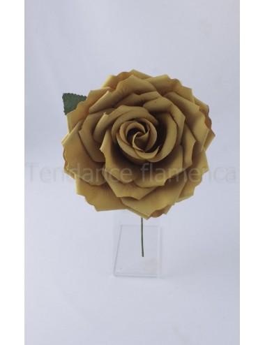 Rose de flamenco à tige 16 cm bronze