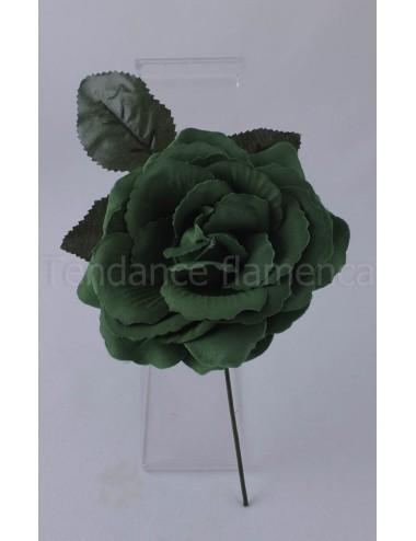 Rose de flamenco à tige 16 cm vert bouteille
