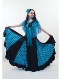 Robe Flamenco Anita Bleu Pois Noir