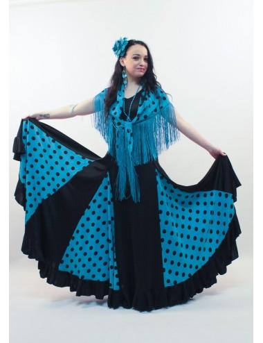 Trajes de flamenca negro y blanco Anita