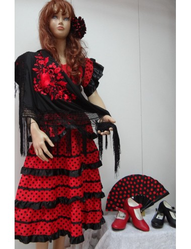 Déguisement Robes Noir pois Rouge