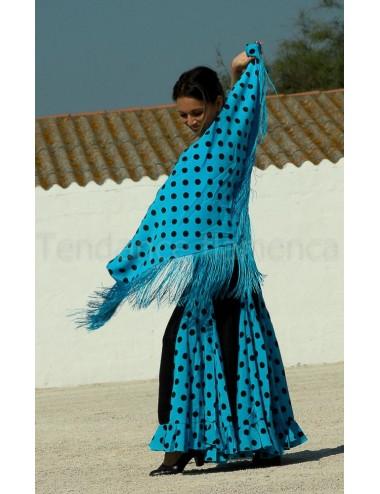 Panuelo Bleu Pois Noir