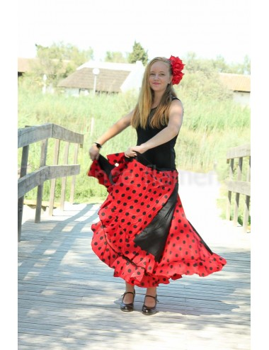 Trajes de flamenca negro y rojo Anita
